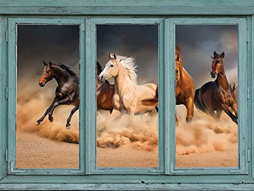 stampeding herd of wild mustangs across a desert floor Kicking up clouds of dust and sand Wall Mural