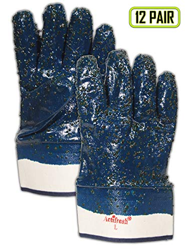 - Magid Glove & Safety 1591FCR Magid MultiMaster Fully Coated Rough Finish Nitrile Gloves, 10, Orange Blue, Men's (Fits Large) (Pack of 12)
