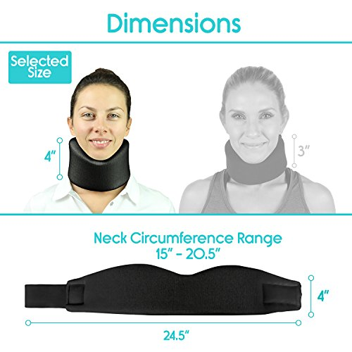 Vive Neck Brace - Cervical Collar - Adjustable Soft Support Collar Can Be Used During Sleep - Wraps Aligns and Stabilizes Vertebrae - Relieves Pain and Pressure in Spine (Black) by VIVE (Image #2)