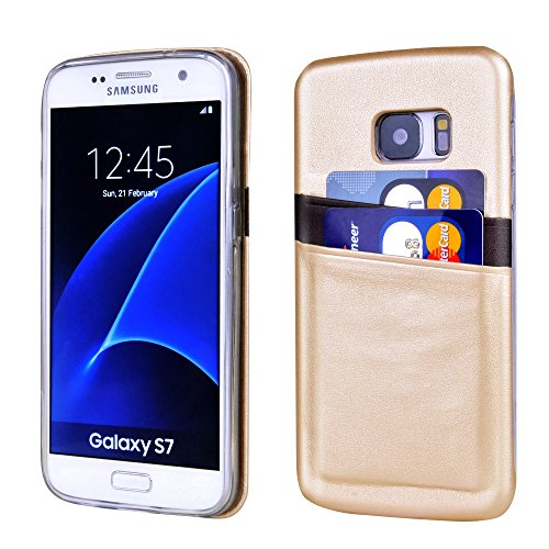 Price comparison product image Galaxy S7 Wallet Case - Ultra Slim Card Case for Samsung Galaxy S7 by Supad - With 2 ID Credit Card Slot Holder Case Cover (Gold Brown)