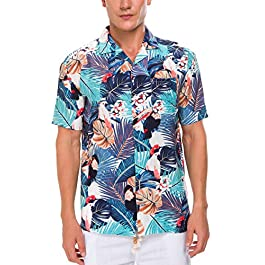 Janmid Men's Flower Casual Button Down Short Sleeve Shirt