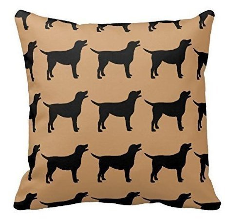 Yqy Black Labs Pillow Case Personalized 18x18 Inch Square Cotton (Black Lab Throw)