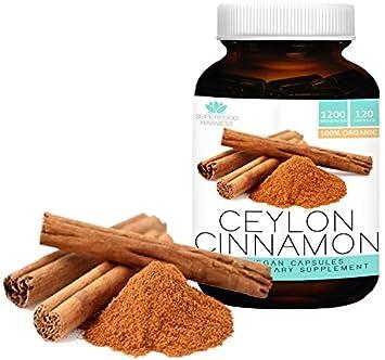 Organic Ceylon Cinnamon Capsules 1200mg 120 Vegetarian Pills Made in the USA , Non-GMO , True Cinnamon