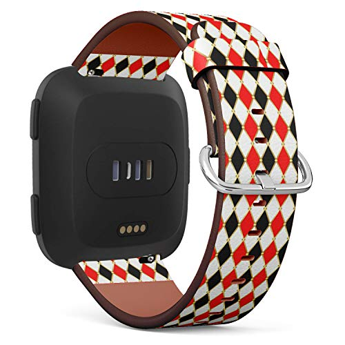 Compatible with Fitbit Versa - Quick Release Leather Wristband Bracelet Replacement Accessory Band - Harlequins Golden Grid