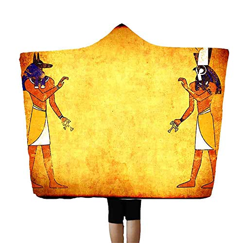SMALLE ◕‿◕ Egyptian Hooded Blankets Polyester Mens Women Novelty Blanket Throw Black 60X80 Inch