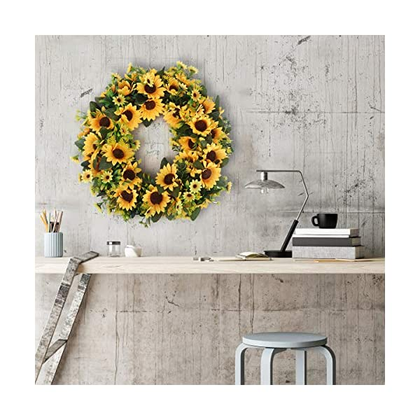 BOMAROLAN Artificial Sunflower Wreath 20 Inch Summer Fall Large Wreaths Springtime All Year Around Flower Green Leaves for Outdoor Front Door Indoor Wall Or Window Décor