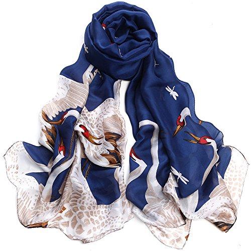 Sleep Koala Women Silk Scarf Large Satin Hair Scarves Fashion Pattern Wrap Shawl