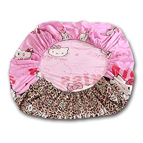 HOLY HOME 1 Piece- Fitted Sheet Leopard Print & Hello Kitty Cat Birthday Gift Bedding for Girl, Baby Pink, 59