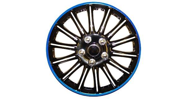 Peugeot 206 14 - Potenciador de (Negro con Azul de rayas Car Hub Caps tapacubos 14