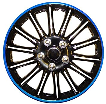 Peugeot 206 14 Inch Black with Blue Pinstripe Car Hub Caps Wheel Trims BOOSTER 14