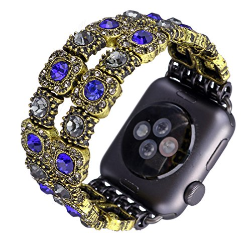 Watch Band, Vintage Bracelets Faux Crystal Antique Jewelry Replacement iWatch Band for Apple Watch (Blue,42mm) from Tmore