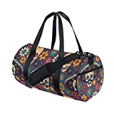 Naanle Day Of The Dead Sugar Skull In Hat Flower Gym bag Sports Travel Duffle Bags for Men Women Boys Girls Kids
