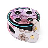 TNP Protective Case for Amazon Echo Dot (Fits all-new Echo Dot 2nd Generation Only) - Premium Vegan Leather Cover Sleeve Skin (Pink Floral)