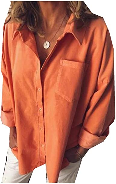 YRIBRA - Camisa de Mujer de Manga Larga Suelta Casual para ...