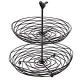 Black Metal Bird Nest Design 2 Tier Kitchen Produce & Fruit Basket / Decorative Display Stand - MyGift
