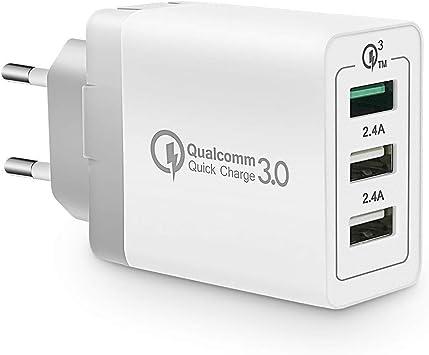 KONKY Cargador USB Multipuerto Quick Charge 3.0 30W Enchufe USB ...