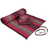 Kapok Dreams Yoga Set: Kapok Mat + block cushion + seat cushion. 100% Kapok. Red Elephants