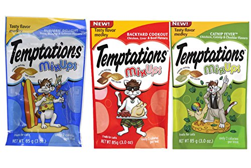 Temptations Cat Treats MixUps Variety Pack - 3 Flavors (Backyard Cookout, Surfers Delight, & Catnip Fever) 3 Pouches - 3 Oz Each