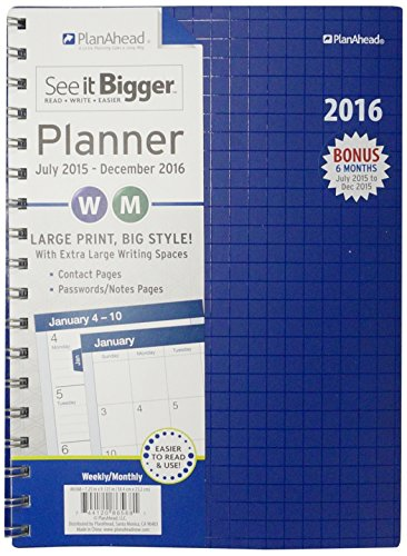 Planahead See It Bigger 18 Month Planner  July 2015  December 2016   Assorted Design Colors  86568