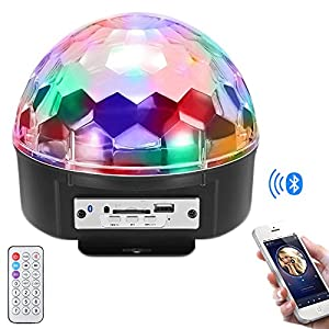 Stage Lights,Prolight LED Grystal magic ball light Led Projection Party Disco Ball DJ Lights Bluetooth Speaker Rotating Light with Remote Control Mp3 Play for KTV Xmas Party Wedding Show Club Pub