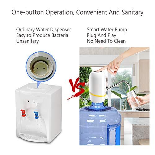 Water Bottle Pump, Electric Drinking Water Pump 5 Gallon Water Bottle Cooler Dispenser USB Charging Portable Water Dispenser by BLUFAWA (Image #2)