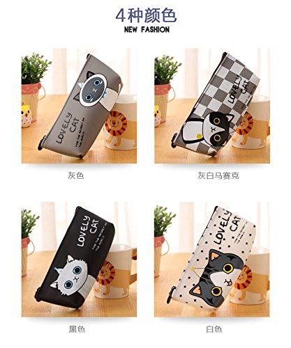 Happy Star® - Estuches con diseño de gatos, color negro y blanco