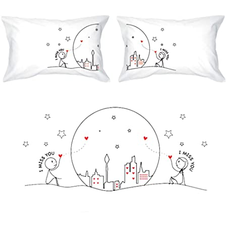 BoldLoft Miss Us Together Couples Pillowcases Long Distance Relationships Gifts for Girlfriend,Boyfriend Long Distance Gifts for Couples LDR Gifts for Him,Her for Couples