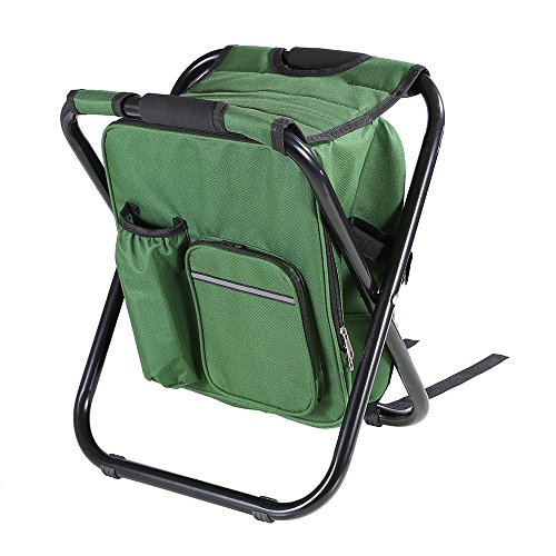 Fishing Backpack Chair,Portable Camping Stool,Foldable Chair with Double Layer Oxford Fabric Cooler Bag for Fishing,Beach,Camping,House and Outing(Green)