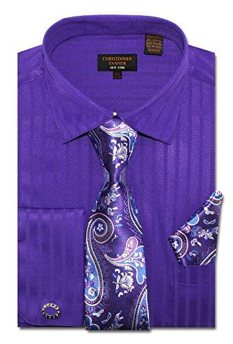Christopher Tanner Men's Regular Fit Dress Shirts with Tie Handkerchief Cufflinks Combo Herringbone Stripe Pattern Plum
