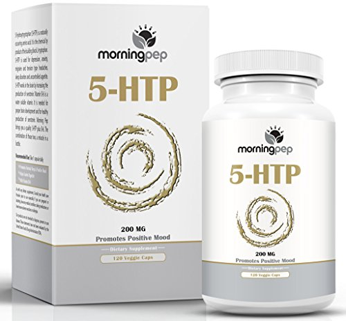 5-HTP Supplement 120Count 200mgper Caps with Added Vitamin B6 by Morning Pep, 5 HTP is A Natural Appetite Suppressant That Helps Improve Your Overall Mood Relaxation & A Restful Sleep