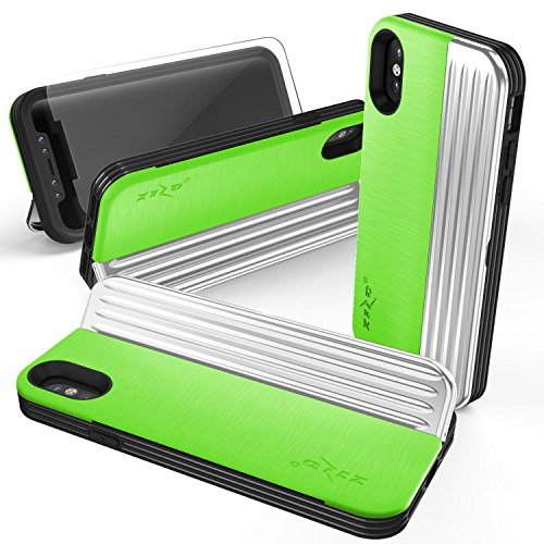 (Zizo Retro Wallet Series Compatible with iPhone X case w/Glass Screen Protector Military Grade Drop Tested Magnetic Closure iPhone Xs NEON Green)