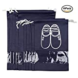 Shoe Bag Travel Storage Pack D-POCKET Nylon Dust-proof Drawstring Organizer for Sneakers high-heeled shoe Boots 10pc Set Navy