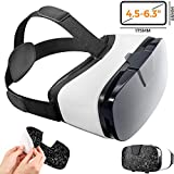 Virtual Reality Goggles for iPhone & Android Phones | 3D Virtual Glasses | AR/VR Headset Perfect Work with Max Size Smartphones | Eye-Safe Adjustable HD Quality Lenses (Premium)