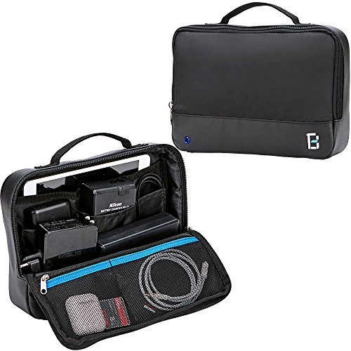 BGTREND Travel Cable Bag Electronic Cord Organizer for External Hard Drive, Power Bank, Cords, iPad Mini, Black
