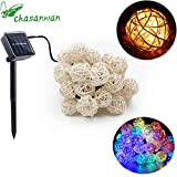 Christma Garland Christma Balls solar light 5M 30 Rattan Ball LED lamp string lights Garlands christmas decorations for home new Year home decor garden light.Q (Random)