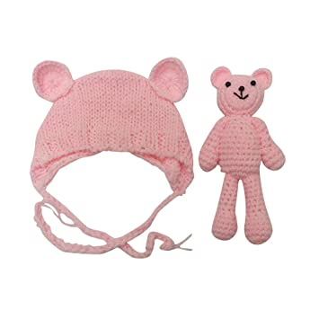 BZLine Nouveau-né bébé Ours tricoté + Chapeau pour la Photographie, Girl  Boy Bonnet a2e9a65518a
