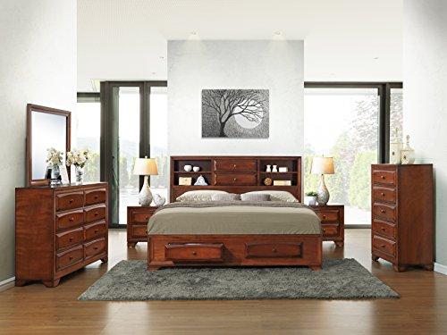 Roundhill Furniture B139BQDMN2C Asger Antique Oak Finish Wood Bed Room Set including Queen Storage Bed, Dresser, Mirror, 2 Night Stands, Chest