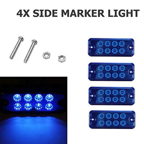 VIGORFLYRUN PARTS LTD 4pcs 8 LED Front Rear Side Marker Light Lamp Indicator Lights for 12V Truck Trailer Lorry RV Bus Exterior Lights Replacement - Blue: