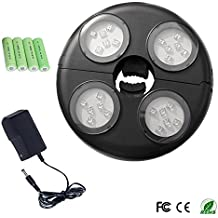 UCtech 4-Light Rechargeable LED Umbrella Light –4 X AA rechargeable Battery Operated and 6V AC, 1000mA specialized charger - Adjustable 2.3-5 cm to Fit Tightly Around Your Umbrella Pole - Cool White Color - Made of Tough ABS Material (Include Batteries)