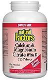 Natural Factors Calcium & Magnesium Citrate, with D - BONUS SIZE - 210