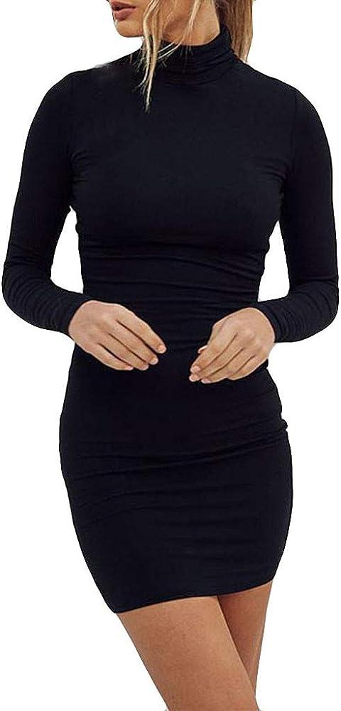 Mxjeeio Vestido de Mujer otoño Invierno Mujeres Manga Larga sólido ...