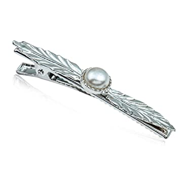 ab3228661 Amazon.com : chuwa Hair Clips for Women Vintage Textured Leaf Shape  Duckbill Hair Clips Metal Faux Pearl Decor Hairgrips Beaded Ponytail Holder  Clamps ...