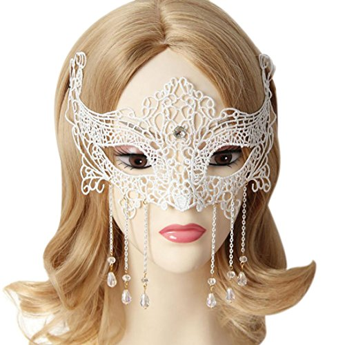 Besde Sexy Elegant Women Stone Lace Tassel Face Eye Mask Fancy Dress Party Gothic Bobby Pins Hair (Face Masks Fancy Dress)
