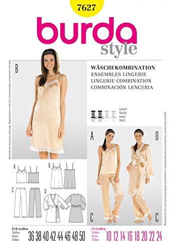 Burda Ladies Easy Sewing Pattern 7627 Pyjamas, Nightie & Dressing Gown