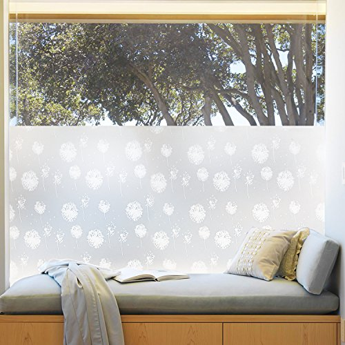 Rabbitgoo Frosted Window Film Dandelion Flower Privacy Window Film Decorative Glass Film Non-Adhesive Anti Uv 35.4in. By 78.7in. (90 X (Translucent Vinyl)