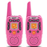Eoncore Walkie Talkies for Kids Two Ways Radio Toy 1.5 Mile Range 3 Channels 10 call tone Build-in Flashlight Pink