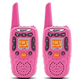 #10: Eoncore T358 Walkie Talkies for Kids Two Ways Radio Toy Long Range 22 Channels 10 call tone Build-in Flashlight Pink