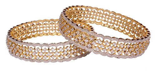 Gorgeous Traditional Bollywood Fashion CZ Stone Indian Bangles For Women Jewelry (2.4)