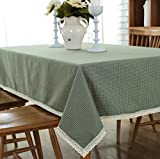 Enova Home Elegant Rectangle Polyester Cotton Washable Tablecloth, Table Cover for Kitchen Dinning Tabletop Decoration (54 x 72 Inch, Light Green)