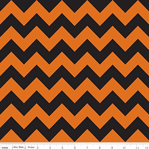 1 Yard Orange Black Medium Chevron from Riley Blake 100% Cotton Fabric C380-2 Orange/Black